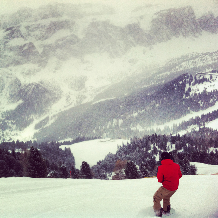 Peter snowboarding in the snowglobe of the Dolomites. I love Italy.