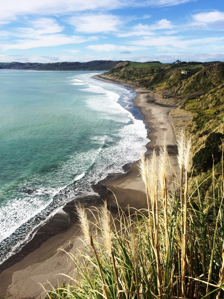 Overlook at Raglan beach, New Zealand