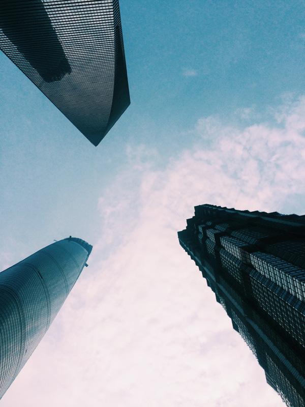 Looking up at the Financial District, Shanghai