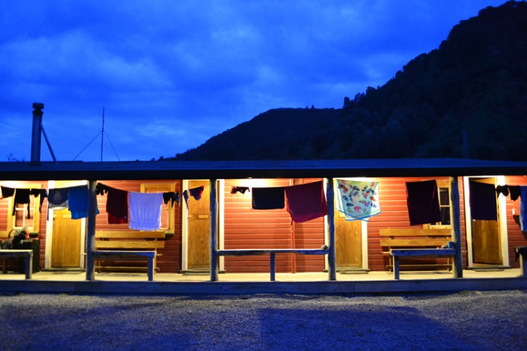 Night falls at Blue Duck Lodge in New Zealand